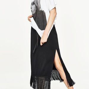 Fringed Hem Skirt